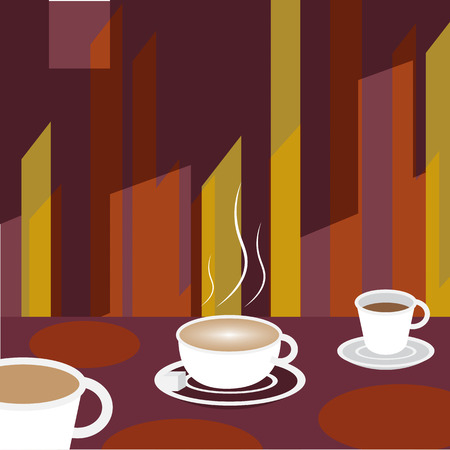 eatery: Coffee on cafe table Background - Vector Illustration