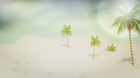 palm trees: Simple Tropical Beach - Vector Illustration