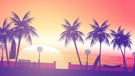 walkway: Beach Sunset Walkway - Vector Illustration Illustration
