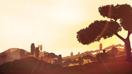 overlook: Abstract Forest Mountain Sunset with Man Sitting in the Foreground - Vector Illustration