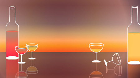 wineglass: Wine and Wine Glasses on Sunset Background - Vector Illustration Illustration