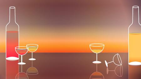 Wine and Wine Glasses on Sunset Background - Vector Illustration Illustration