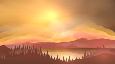 pine forest: Abstract Sunrise Mountains with Lake and Pine Forest - Vector Illustration Illustration