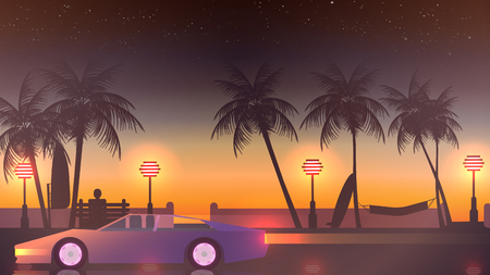 beach sunset: Beach Sunset Walkway with Sport Car speeding away - Vector Illustration