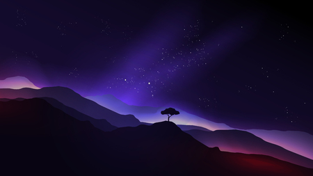 skies: Starry Night in the Mountains with a Lone Tree - Vector Illustration
