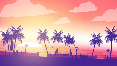 foreground: Beach Sunset Walkway with Man Sitting in the Foreground and Palm Trees - Vector Illustration