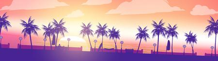 Strand-Sonnenuntergang-Gehweg Palmen Panorama - Vektor-Illustration