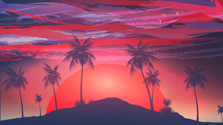 red sunset: Red Sunset Tropical Island with Storm Clouds - Vector Illustration