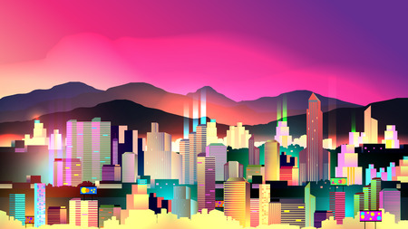 beach panorama: Vivid Night City with Neon Glow - Vector Illustration Illustration