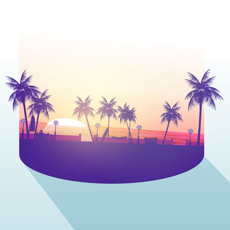 walkway: Isolated Part of A Beach Walkway with Palm trees - Vector Illustration