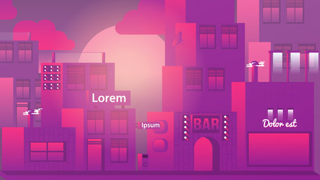 urban street: Urban Street with Modern Houses and Bar at Sunset - Vector Illustration Illustration