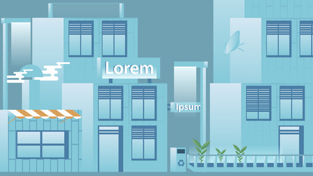 urban street: Flat Design Urban Street with Modern Houses - Vector Illustration