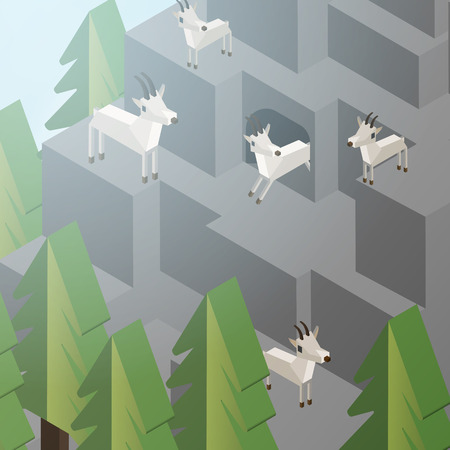 Mountain Goats on a Cliff, Mountainside Isometric Style - Vector Illustration Illustration