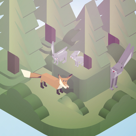 Rabbit  Burrow and Fox in a Pine Forest Isometric Style - Vector Illustration