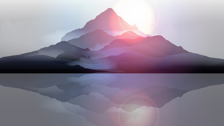 Mountain Landscape with Lake Reflection - Vector Illustration