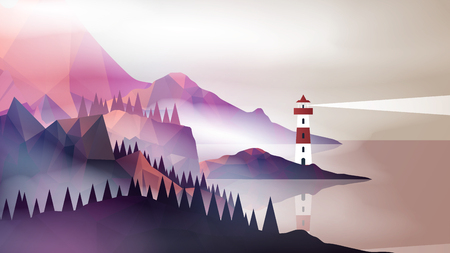 Lighthouse with Navigation Light and Mountain Fog on a Coast - Vector Illustration