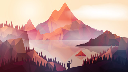 foreground: Abstract  Mountains with Lake and Pine Forest , Person in Foreground - Vector Illustration Illustration