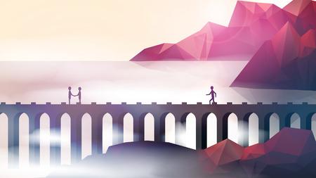 bridge over water: People on Aqueduct Bridge Near Shore Cliffs  - Vector Illustration