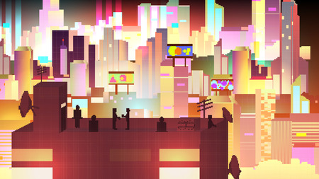 urban building: Retro Eight Bit Urban Neon Cityscape scene with Building Silhouettes, Towers and Rooftop Party - Vector Illustration