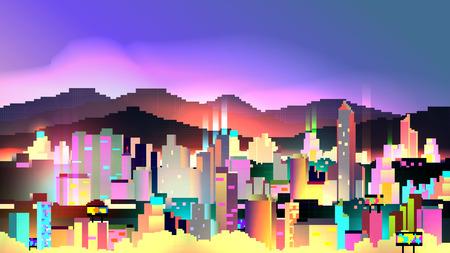 Retro Eight Bit Neon City Skyline Background - Vector Illustration