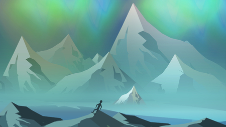 Mountains Landscape with Northern Aurora - Vector Illustration Imagens - 73749699