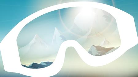 eyewear fashion: Ski Goggles Reflecting the Winter Mountains on Blurred Background - Vector Illustration