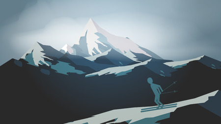 Paysage de montagne avec un homme de ski - Illustration vectorielle