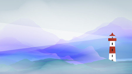 Lighthouse in Abstract Sea - Vector Illustration