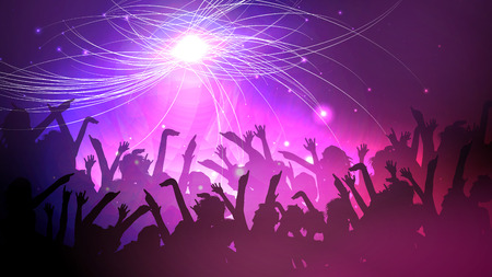 event party: Party People Crowd, Festive Disco Event Background - Vector Illustration