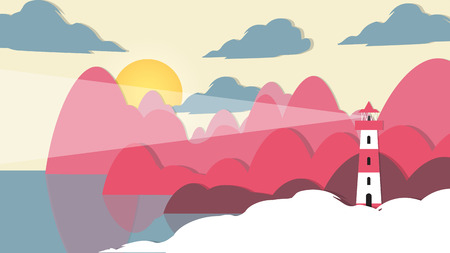 Paper-cut Style Applique Lighthouse - Vector Illustration