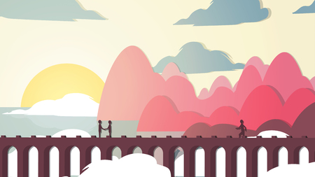 viaduct: Paper-cut Style Applique Bridge near Coast with People - Vector Illustration