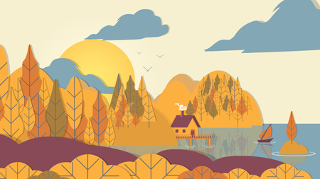Paper-cut Style Applique Forest with Small House and Boat on Coast - Vector Illustration