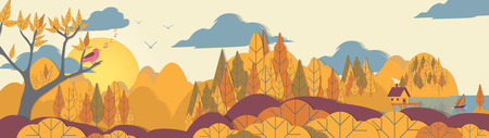 Paper-cut Style Applique Forest Panorama with Small House and Boat on Coast - Vector Illustration