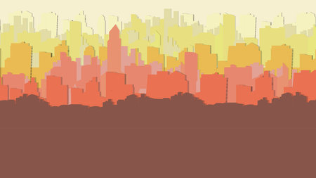Paper-cut Style City Background with a Lots of Buildings - Vector Illustration