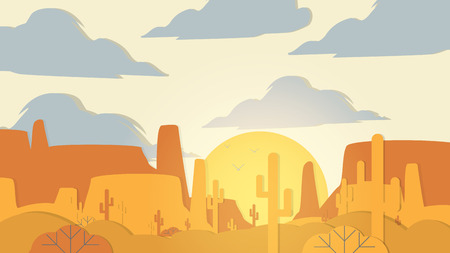 Paper-cut Style Applique Desert with Cactus and Mesa  - Vector Illustration