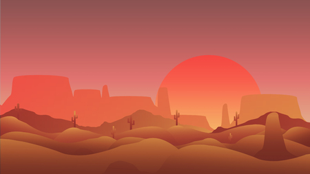 Desert with Cactus and Mesa  - Vector Illustration
