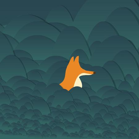 Fox Hunting in Grassland Hills- Vector Illustration