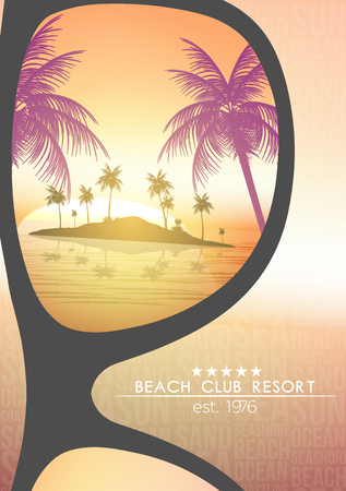 beach sunset: Summer Beach Resort Tropical Island with Sunglasses on Blurred Background - Vector Illustration Illustration