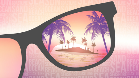 Summer Beach Tropical Island with Sunglasses on Blurred Background - Vector Illustration