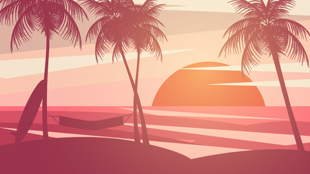 Minimal Summer Sunset Beach - Vector Illustration Illustration