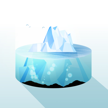 Iceberg Slice Underwater and Above Water Level View - Vector Illustration Illustration