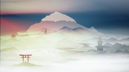 Japanese Landscape Background with Mountains and Arch Sunset with Fog  - Vector Illustration Illustration