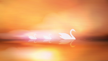 Swan Silhouette and Sunrise on Lake - Vector Illustration