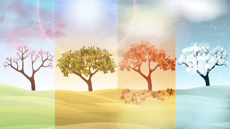 Four Seasons Banners with Abstract Trees and Hills  - Vector Illustration