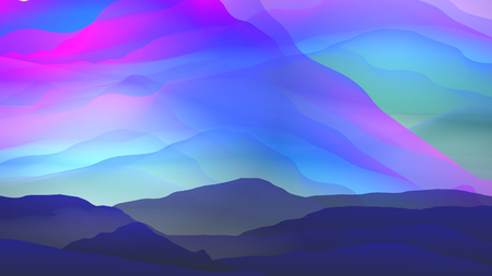 Sunset or Dawn Over Silk Mountains Landscape. 일러스트