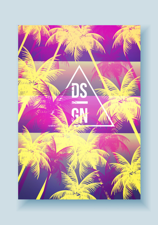 alphabet tree: Tropical Palm Tree Retro Mosaic Summer Holiday Poster - Vector Illustration