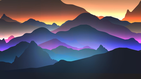 Sunset or Dawn Over the Mountains Landscape - Vector Illustration