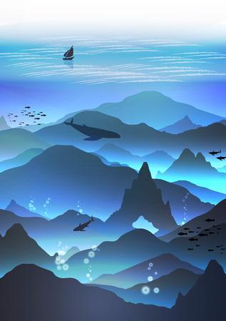 Underwater Sea Landscape - Vector Illustration