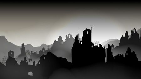 Destroyed city ,Buildings in Ruin - Vector Illustration