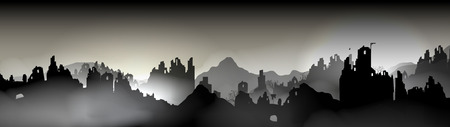 Destroyed city Panorama, Buildings in Ruin - Vector Illustration